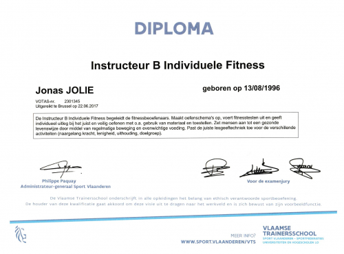 Diploma fitnessinstructeur Jolie personal coaching